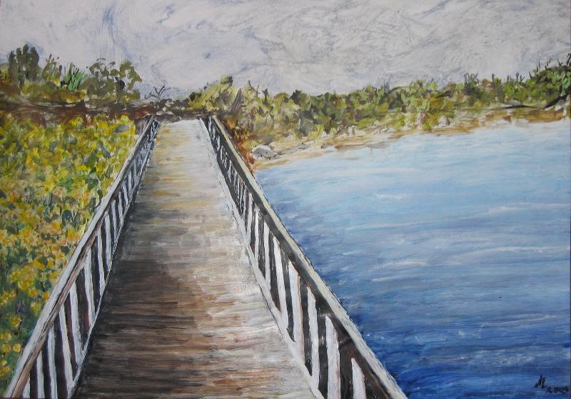 Landschaftsperspektive: Eine Brücke