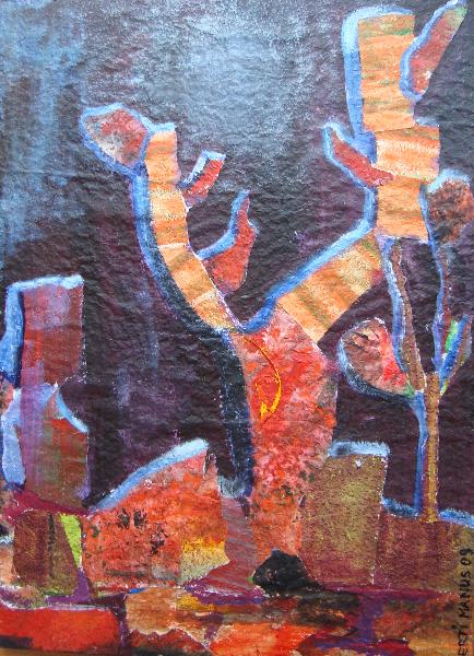 Komposition mit farbigem Bildmaterial: Mojawe-Nacht