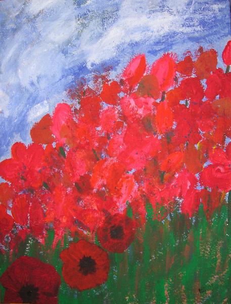 Rote Blumen - Komplementär Kontraste: Föhn